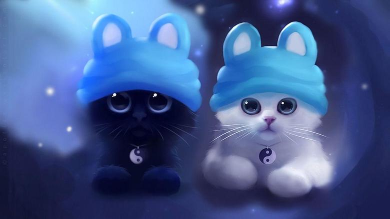 Kitten cat artwork art zen ying yang wallpapers