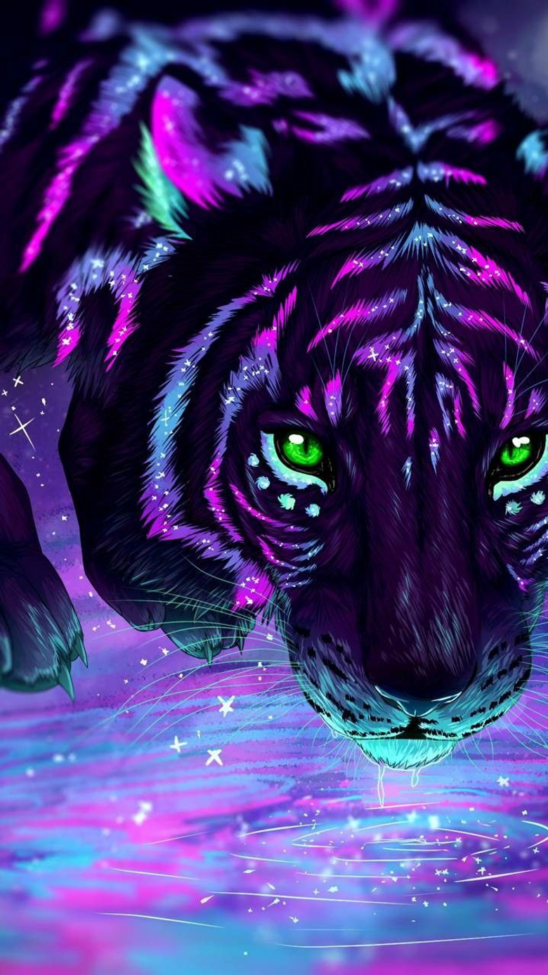 Galaxy coloured tiger with green eyes