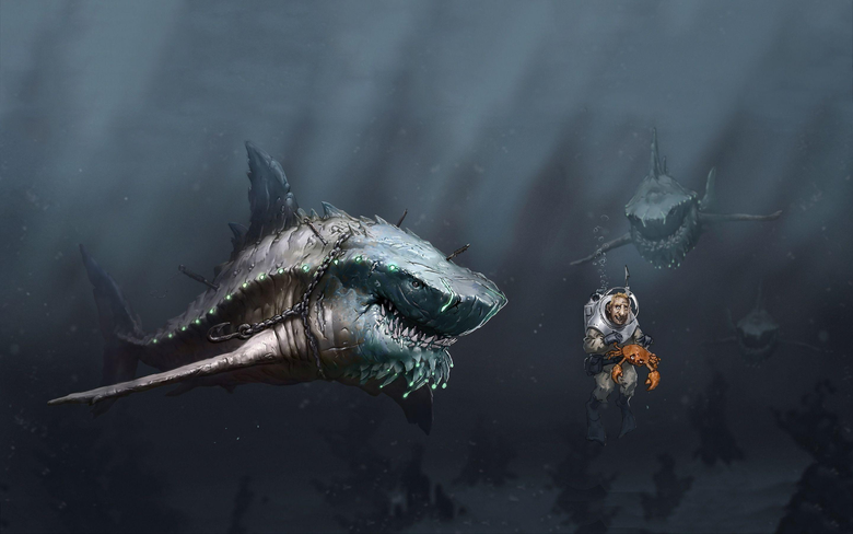 COOL animation cartoon shark WALLPAPER 7043