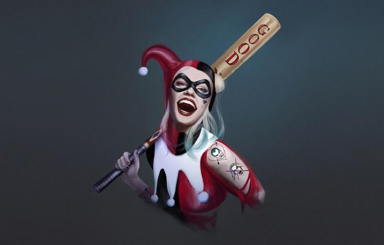 Wallpapers Minimalism Smile Bit Art Harley Quinn DC
