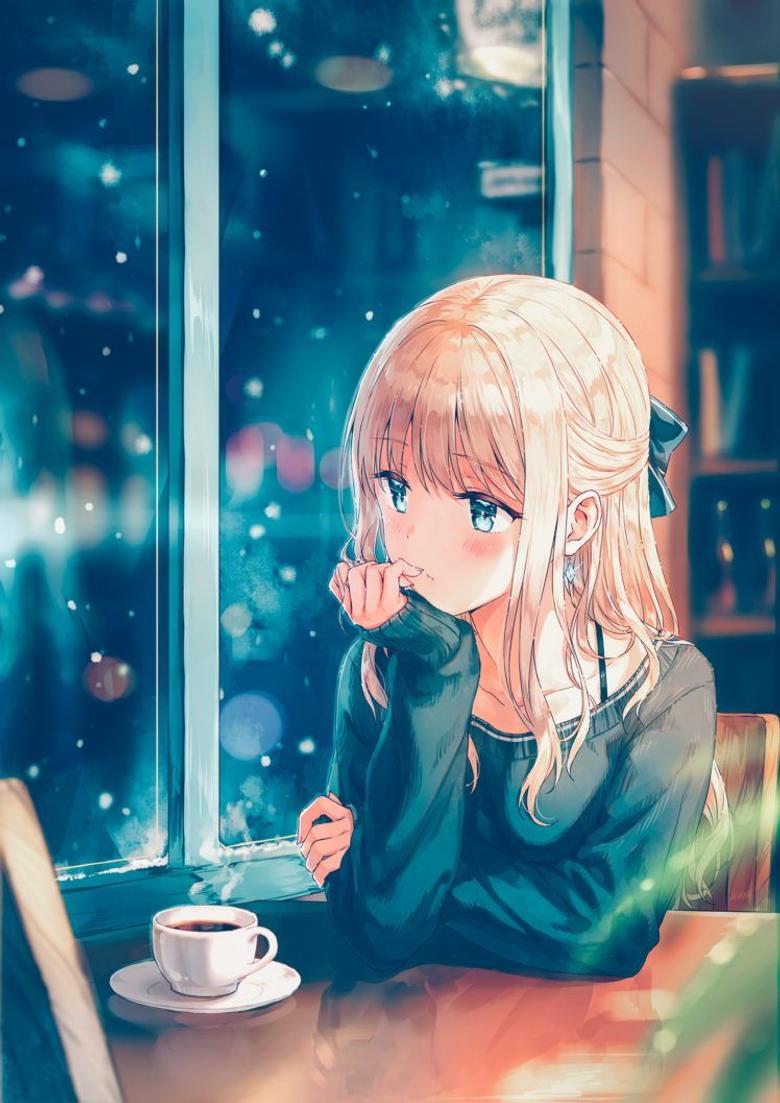 Anime Girl Thinking In Ca`fe