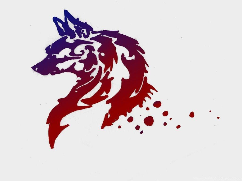 Designs Tribal Wolf In Two Colors Wallpapers Desktop Backgrounds