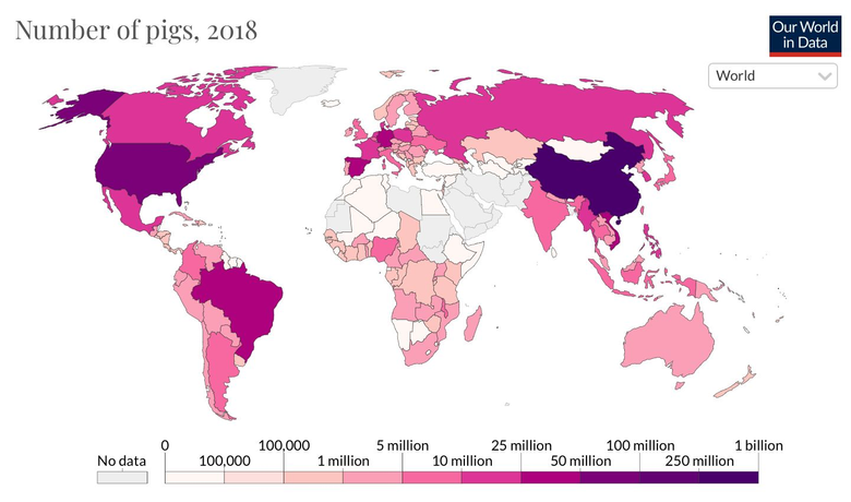 Map of the pig population
