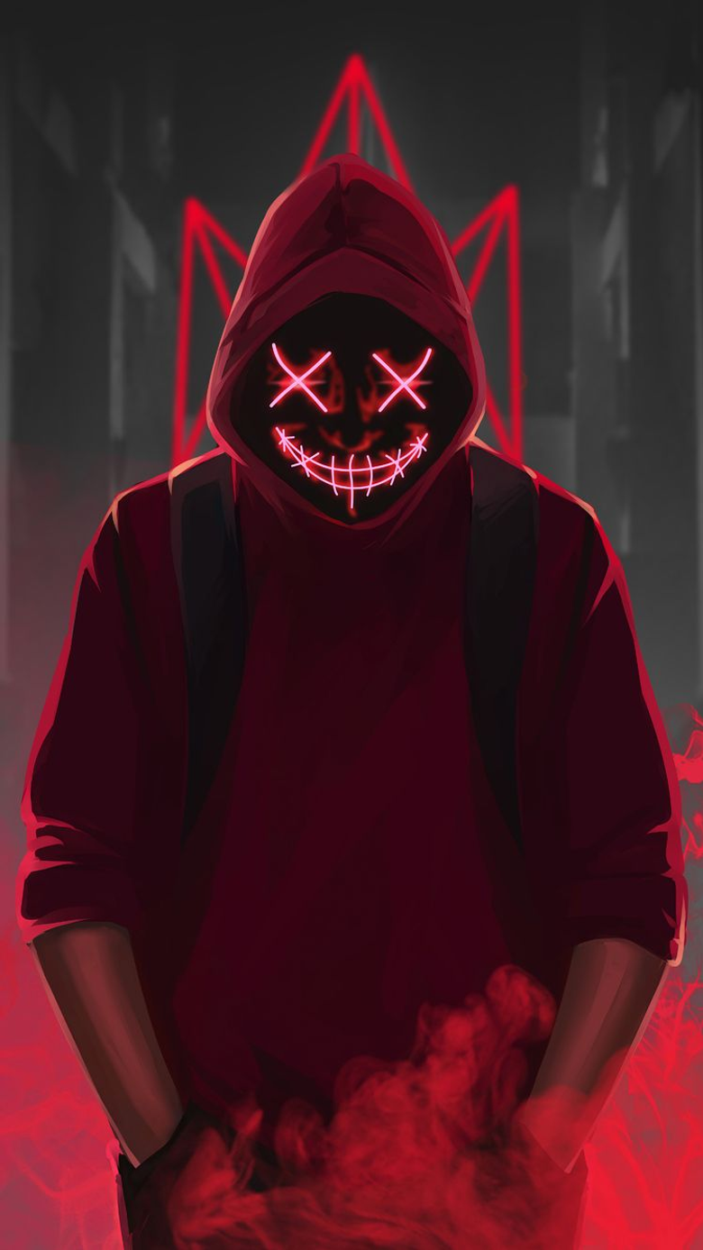 x1334 Red Mask Neon Eyes 4k iPhone 6 iPhone 6S iPhone 7 HD 4k Wallpapers Image Backgrounds Photos and Pictures