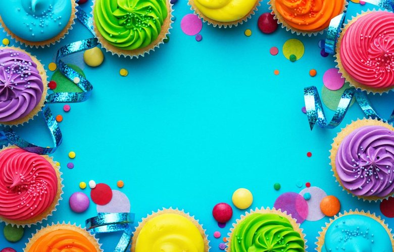 Open Blue Hole With Colorful Cupcakes Surrounding
