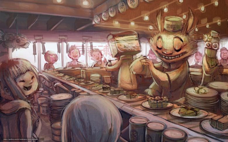 wallpapers Art anime sushi bar desktop wallpapers