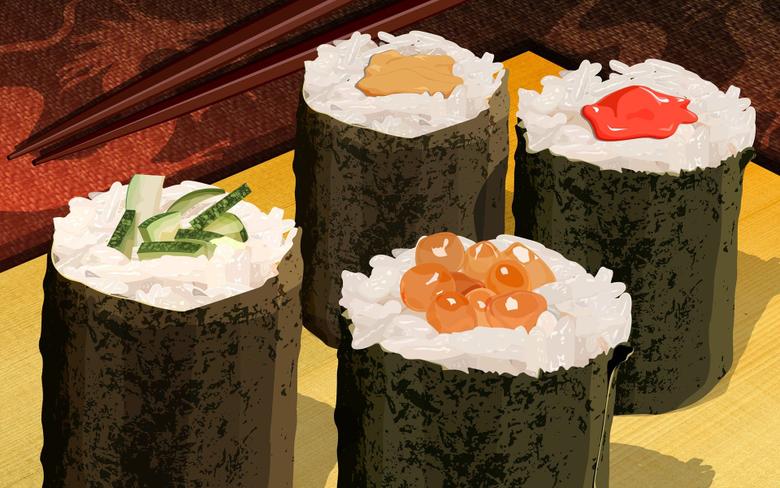 PSD Food illustrations 3160 japanese sushi illustration sushi