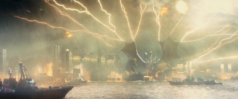 Ghidorah uses Lighting to Strike Down all Human Aircrafts Shooting Him