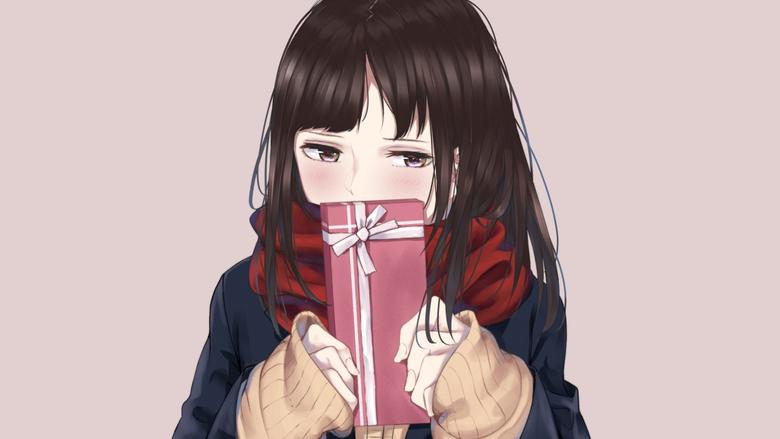 Cute Anime Girl Shy Gift Box Wallpapers