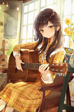 Anime Girl Playing Guitar