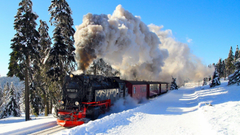 Nice Super Train in Winter Season HD Wallpapers