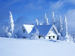 White house in a beautiful white winter season