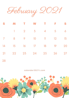 February 2021 Floral Calendar printable theme DIY template for decoration beautiful things in 2020