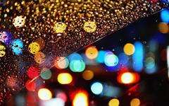 glass Rain Drops Bokeh Lights wallup