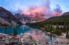 A beautiful morning sunrise in Moraine Lake Banff National Park