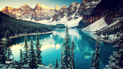 mountain Trees Snow Water Moraine Lake Canada Lake Forest