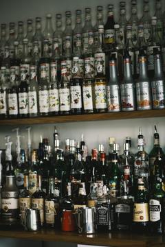 Glenfiddich Bottle Beside Wine Glass Stock Photo