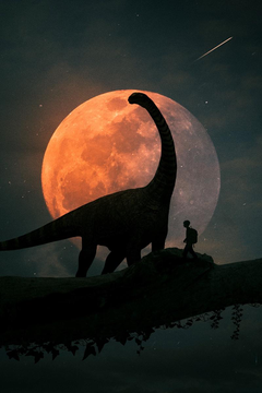 wallpapers 800x1200 silhouettes dinosaur planet photoshop