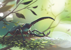 Hercules beetle surrounded by leaves digital wallpapers
