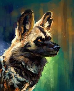 Image African wild dog Hyenic dog Head Animals Painting Art