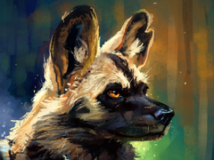 Image African wild dog Hyenic dog Head Animals Painting
