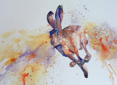 Desktop Wallpapers Hares Run Pictorial art animal Painting Art