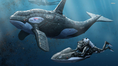 Divers and a robotic orca wallpapers