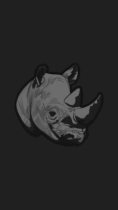 Thoughtful Rhino Dark Minimal Illust Art iPhone 8 Wallpapers