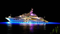 wallpapers sea night lights the evening yacht night
