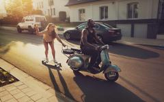 Road Girl Skate Boy Scooter Vespa Joy Sunny Day HD Wallpapers