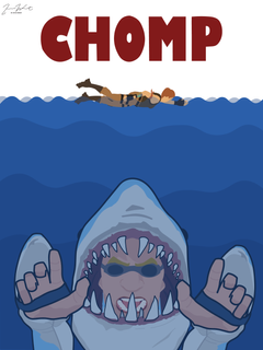 Jaws themed poster I made based off a Fortnite skin called Chomp