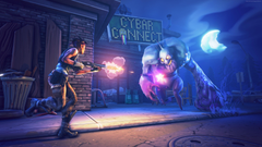 Fortnite Game Shooter Zombie Gun Night Street Moon Art