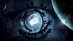 Eyes outer space planets Moon ships buildings fantasy art spaceships