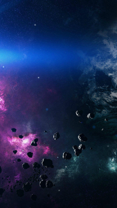 Space Asteroids Belt Purple