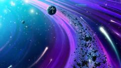 Wallpapers asteroids and comets are flying in a circle desktop