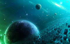 Asteroid belt orbiting the planet wallpapers