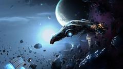 Wallpapers spaceship in asteroid belt desktop backgrounds