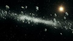 Beautiful Flight Through Asteroid Belt in Open Space Asteroids
