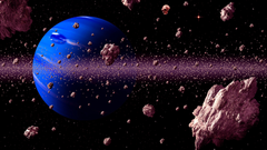 Asteroid Belt With Meteors Threat For Blue Planet Digital Art