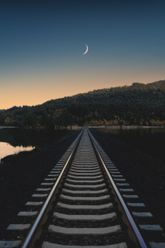 Train track track moon and sunset