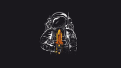 cosmonaut shuttle suit humor art minimalism HD wallpapers