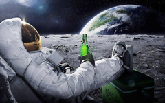 Astronaut Drinking Carlsberg Beer Moon Space Wallpapers