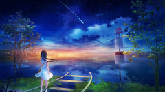 3840x2160 Anime Girl Railway Falling Star Scenic Sky