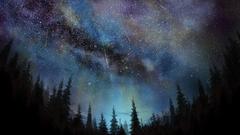 1366x768 Meteors Trees Sky Night Falling Stars