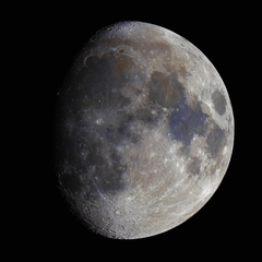 High resolution waxing gibbous moon in colour from the other night