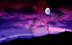 Artistic night scene of a gibbous moon in a sky with purple and