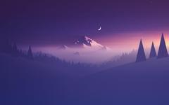 Wallpapers Mountain Minimal Half moon HD Creative Graphics