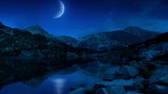 Night Half Moon Mountains Lake Bulgaria Wallpapers in jpg format for