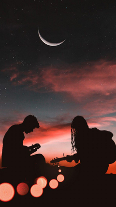 Romantic Couple Playing Guitar Sunset Half Moon