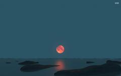 Red Moon Ocean Black Rocks wallpapers